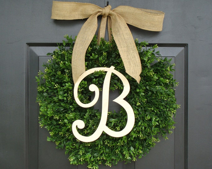 Monogram Boxwood Wreath, Fall Monogram Wreath with Burlap Bow, Housewarming Gift, Wedding Wreath 16- 24 INCH Available