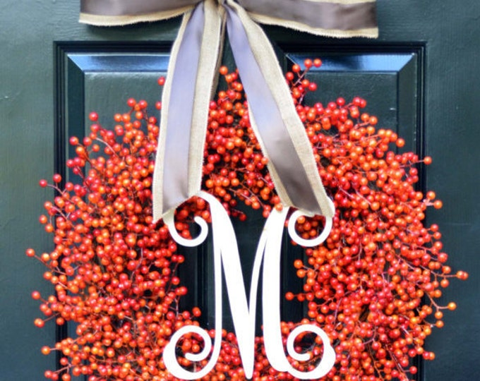 Orange Berry Wreath- Double Bow- Monogram Wreaths- Weatherproof Berries- Halloween Decoration- Autumn Decor- Fall Wreath- Orange Berries