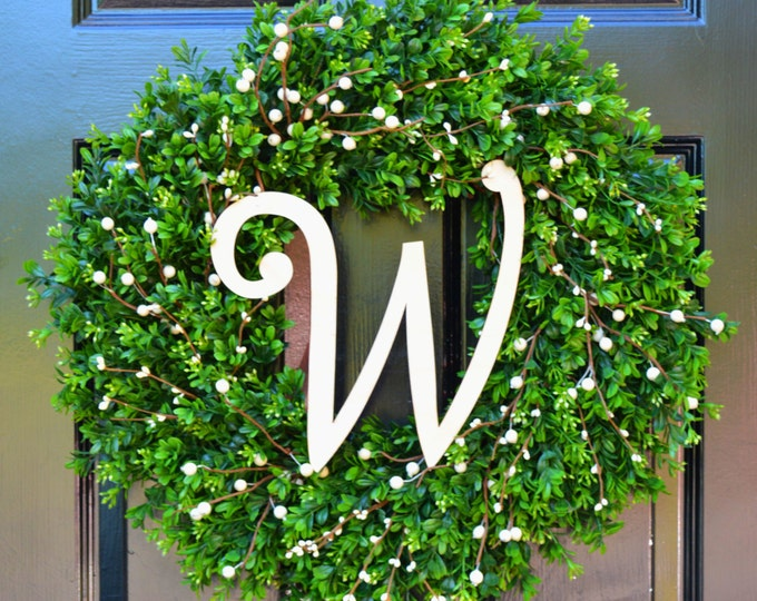 Year Round Wreath, Boxwood Wreath, All Seasons Decor, Wedding Decor, Berry Door Wreath, Fall Wreath, Winter Wreath, Cream Berries, Monogram