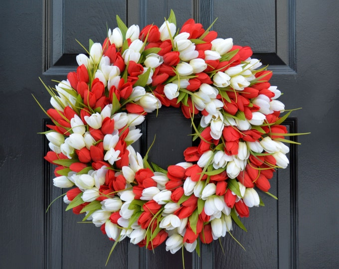 Spring Wreath- Tulip Spring Wreath- Valentine's Day Wreath- Red and White Valentine Decor