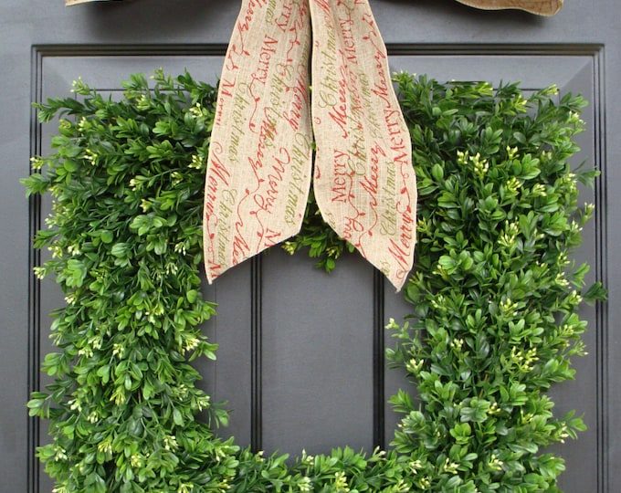 Merry Christmas Square Boxwood Holiday Christmas Wreath- Christmas Decor- Christmas Decoration- 4 inch Design Ribbon