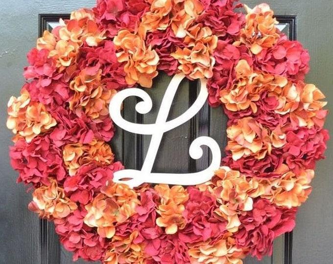 Fall Hydrangea Wreath, Hydrangea Fall Wreath,Thanksgiving Wreath, Fall Decor, Red Orange Pumpkin Spice Fall Wreath  Ready