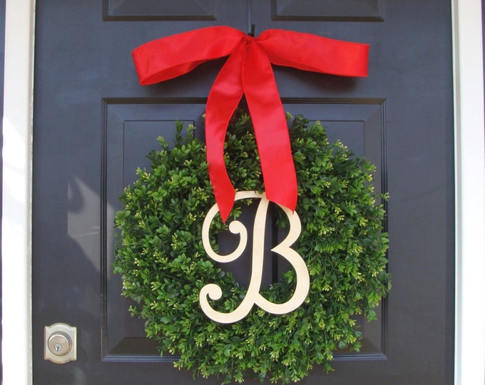 Monogram Boxwood Christmas Wreath-  Personalized Holiday Wreath with Burlap Bow, Housewarming Gift, Wedding Wreath 20 INCH Shown