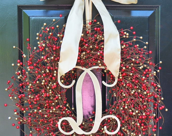 SALE Red Gold Berry Wreath Christmas Wreath,Wedding Wreath- Door Wreath Christmas Wreath Christmas Holiday Decorations Outdoor Decor SALE
