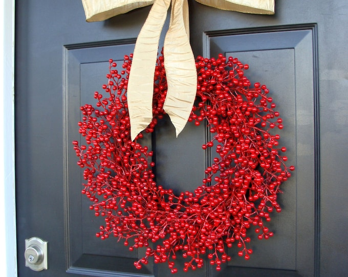 Winter Wreath, Holiday Wreath, Red Berry Wreath, Christmas Wreath, Valentine's Day Decor-  Featured in Better Homes and Gardens Magazine