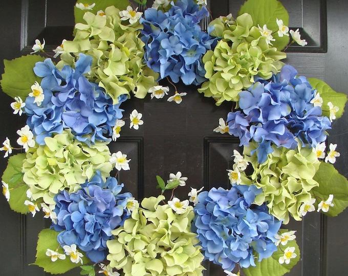 Spring Wreath- Blue Hydrangea Wreath- Summer Wreaths- Summer Wreath for Door