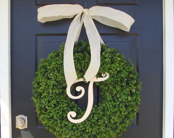 Monogram Boxwood Wreath, Year Round Painted Monogram Wreath with Bow, Spring Decor, Housewarming Gift, Monogram Initial Wedding Wreath Decor