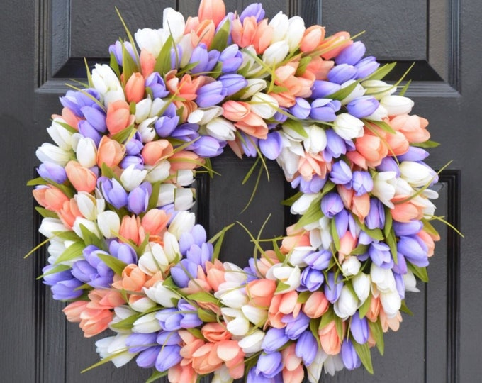 Spring Wreath- Tulip Spring Wreath- Summer Wreath- Custom Summer Door Wreath