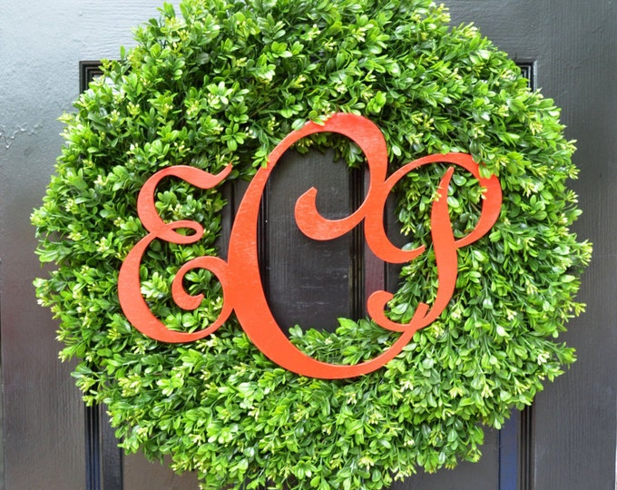 Christmas Monogram Boxwood Holiday Wreath- Christmas Wreath- Christmas Decor- Christmas Decoration- Christmas Gift- 18-24 inches available