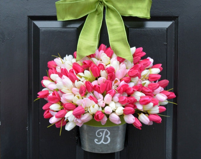Easter Tulip Wreath- Spring Wreath-Spring Tulip Wreath-XL Easter Wreath Door Wreath- Mother's Day Gift- Gift for Mom- Wreath for Spring