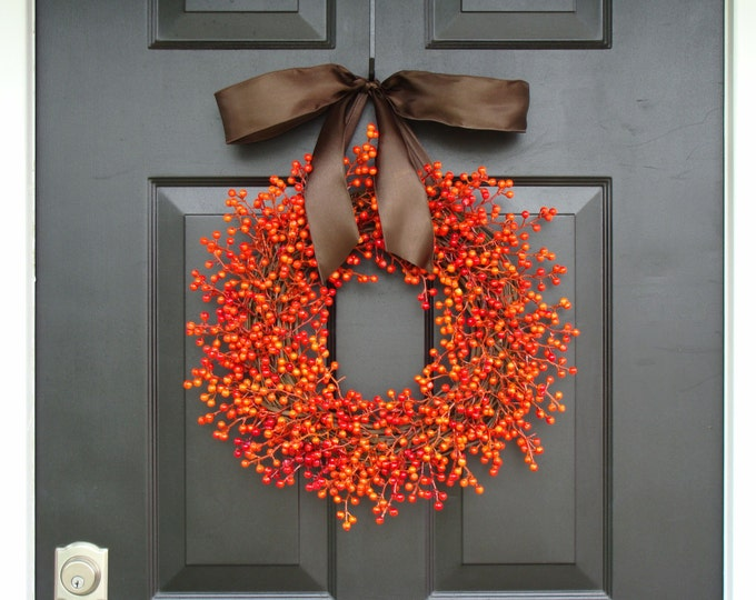 Berry Wreath, Fall Berry Wreath, Fall Wreath with Berries, Fall Decor, Fall Decoration  WEATHERPROOF BERRIES