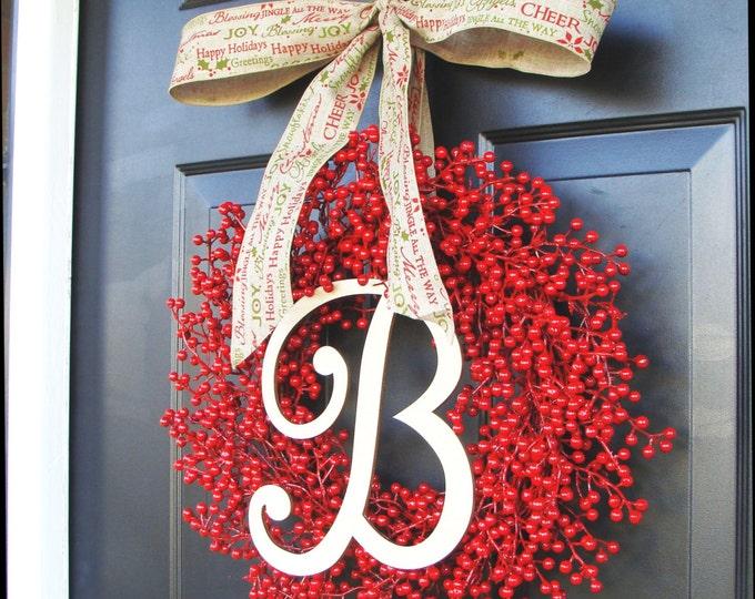 Monogram Berry Wreath-Christmas Wreath Front Door- Holiday Wreath- Christmas Decor- Valentine's Day Wreath- Waterproof Berries Outdoor Safe