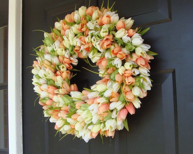 Custom Tulip Spring Wreath- Spring Decor- Spring Tulip Wreath, Custom Sizes- Summer Wreath- The ORIGINAL Tulip Wreath