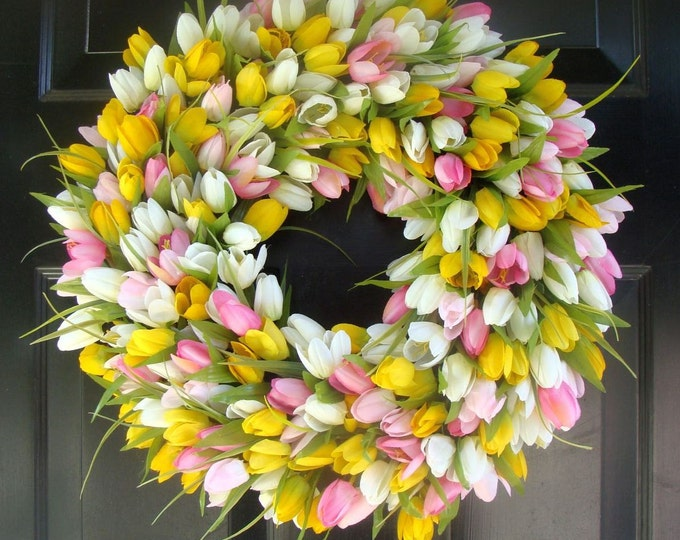 Bestselling Original Custom Tulip Wreath- Spring Wreath- Easter Wreath- Easter Decor- Front Door Wreath- Easter Decoration- Wedding Wreath