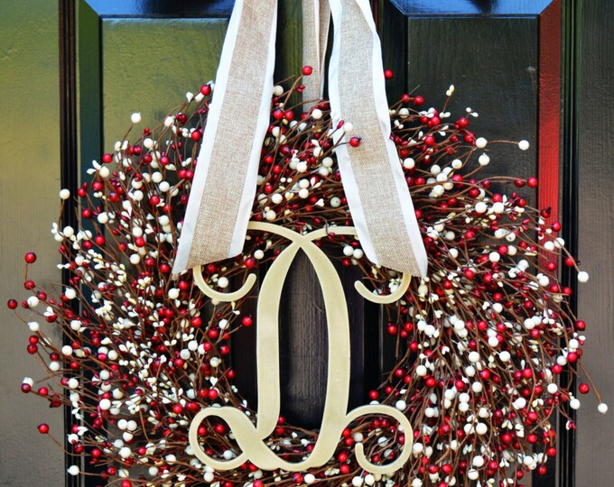 Fall Berry Wreath- Door Wreath- Fall Wreath- Wedding Wreath- Valentine's Day Wreath- Christmas Wreath- Red and Cream Fall Decor Winter Decor