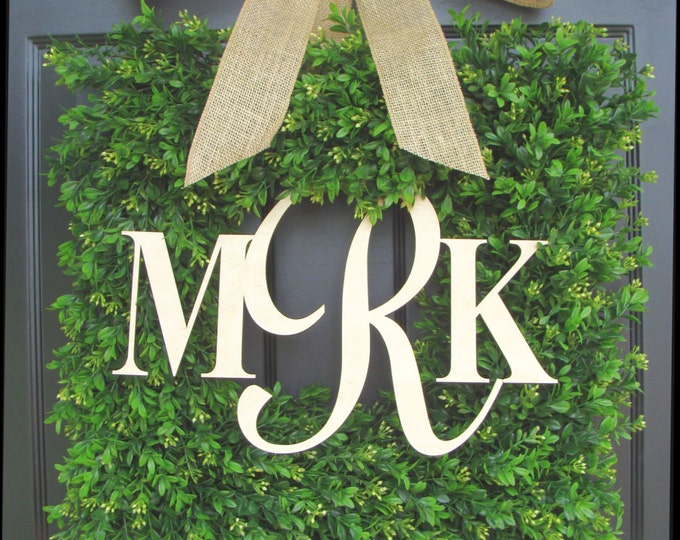 Square Boxwood Monogram Wreath with Burlap Bow, Monogram Boxwood Wreath 20 INCH
