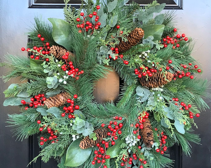 QUICK SHIP Christmas Wreath Front Door Christmas Wreath Artificial Waterproof Berry Eucalyptus Magnolia Pine Wreath 24 In SHOWN Berry Wreath