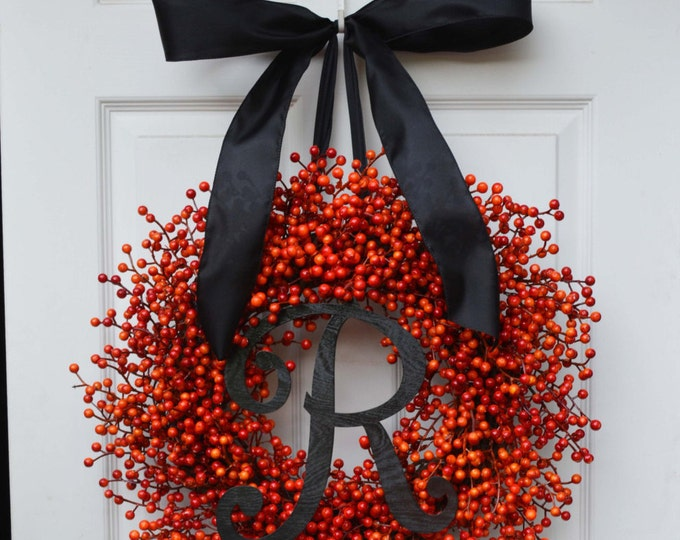 Halloween Wreath- Orange Weatherproof Berry Wreath- Fall Wreath- Autumn Decor- Halloween Decoration- Weatherproof Berries