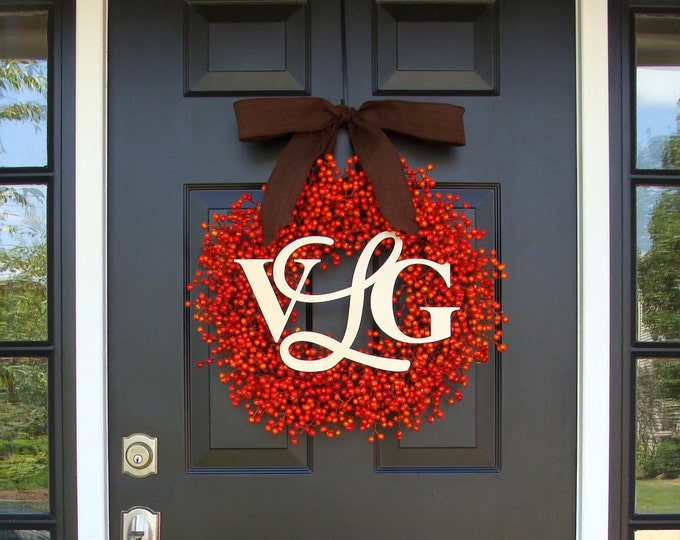 Fall Berry Monogram Wreath- Fall Wreaths- Monogram Berry Wreaths- Fall Decor- Fall Wedding Decor- WEATHERPROOF Berries
