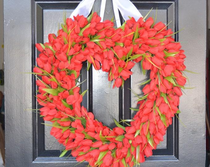 Red Tulip Heart Wreath  Valentine's Day Wreath  Heart Valentine Decor  Valentines Day Gift  Wedding Gift Wedding Decor Sprin