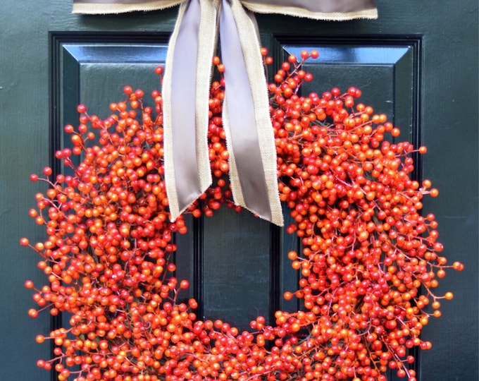 Weatherproof Berry Wreath- Double Bow- Fall Wreath- Halloween Decor- Autumn Decoration- Fall Decor- Orange Berries- Orange Berry Wreath