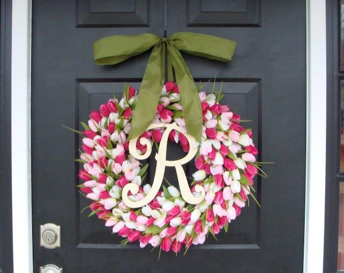 Pink Tulip Spring Wreath Summer Wreath- Mother's Day Gift- Spring Decor- Monogram Wreath- Pink Shabby Chic, The ORIGINAL Tulip Wreath