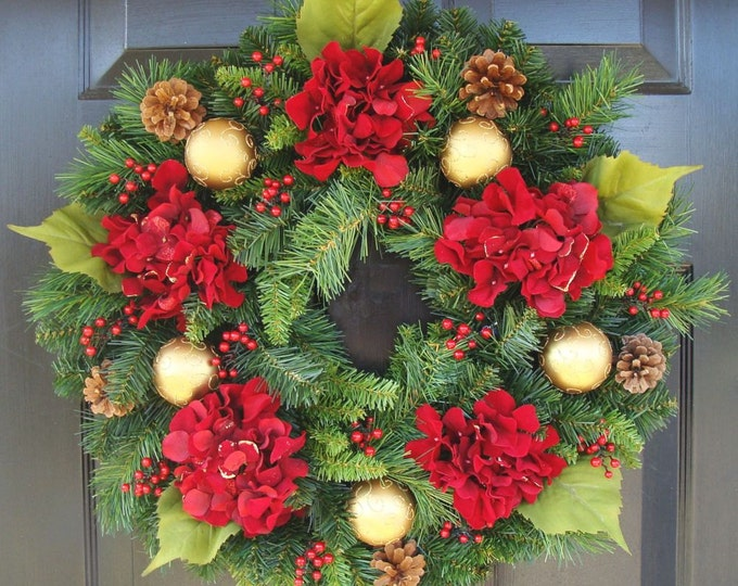 Holiday Wreath- Shatterproof Ornament, Red Berry, Pinecone and Hydrangea Artificial Christmas Wreath- Winter Wreath- Door Wreath