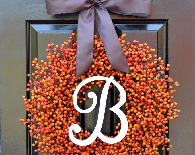 BESTSELLING Weatherproof Orange Berry Fall Wreath,Fall Outdoor Monogram Wreath Thanksgiving Wreath, Fall Decor with Weatherproof Berries