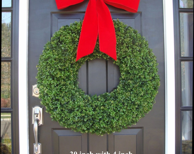 XL Holiday Faux Boxwood Wreath, Outdoor Christmas Wreath- Christmas Decor- Christmas Decoration- 4 inch Thick Ribbon 22-30 inches