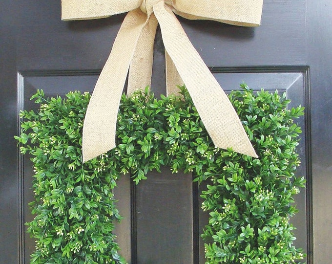 Square Boxwood Wreath, Square Summer Wreath, Burlap Bow, Outdoor Spring Wreath, Housewarming Gift, Wedding Wreath 20 INCH shown