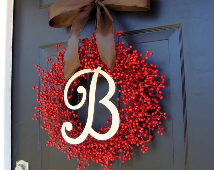 Red Berry Fall Wreath- Berry Wreaths- Outdoor Fall Decor Wreath- Monogram Wreath- Autumn Decor- WEATHERPROOF- Year Round Wreath Decoration