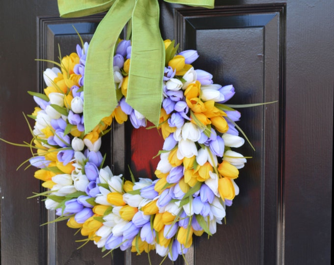 Spring Wreath, Tulip Wreath, Spring Decoration, Door Wreath for Spring Custom Size
