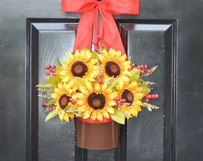 Sunflower Door Wreath- Fall Wreath Alternative- Ready to Ship- Thanksgiving Decor- Outdoor Decorations- Autumn Decor- Yea