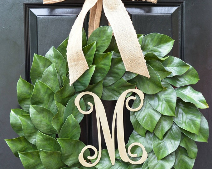 Magnolia Wreath, Artificial Magnolia Wreath, Magnolia Leaves Door Wreath, Fixer Upper Southern Decor Year Round Wreath