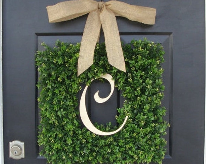 Monogram Boxwood Wreath, Boxwood Monogram Wreath with Burlap Bow, Housewarming Gift, Wedding Wreath 16-24 INCH Wreath available
