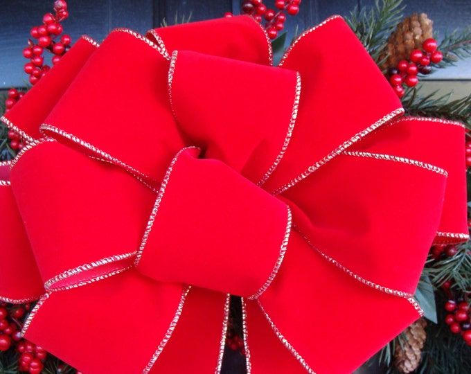 2 1/2 inch Wired Outdoor Christmas RIBBON- Bulk Ribbon Weatherproof Christmas Decor for Christmas Bows, FREE SHIPPING Red Velvet Ribbon
