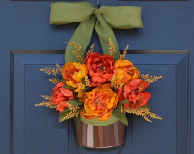 Peony Door Wreath, Fall Wreath, Fall Peonies, Door Decor, Thanksgiving Decor, Wreath for Fall