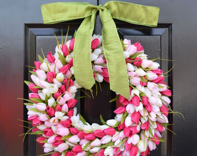 Spring Wreath- Tulip Wreath- Spring Decor- Pretty in Pink- Outdoor Wreath- Spring Wreaths- Pink Tulips 18 inch