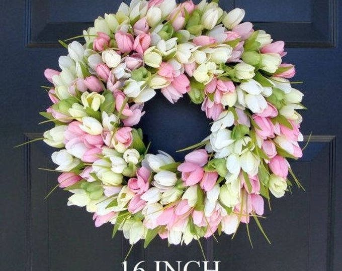 ORIGINAL Easter Spring Wreath- Door Wreath- Easter Wreath- Tulip Wreath- Sizes 16-26 inches, custom colors- The Original Tulip Wreath