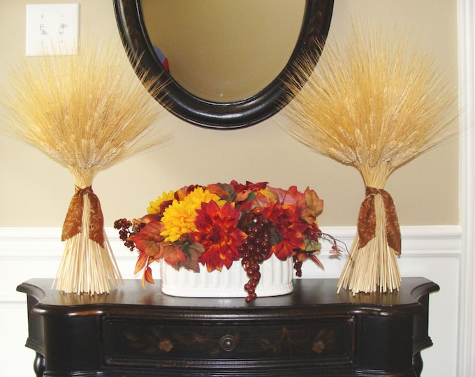 Thanksgiving decor, Fall Decor, Two XL Matching Thanksgiving Wheat Sheaves, Fall Decoration, Table Decor, Mantle Decor