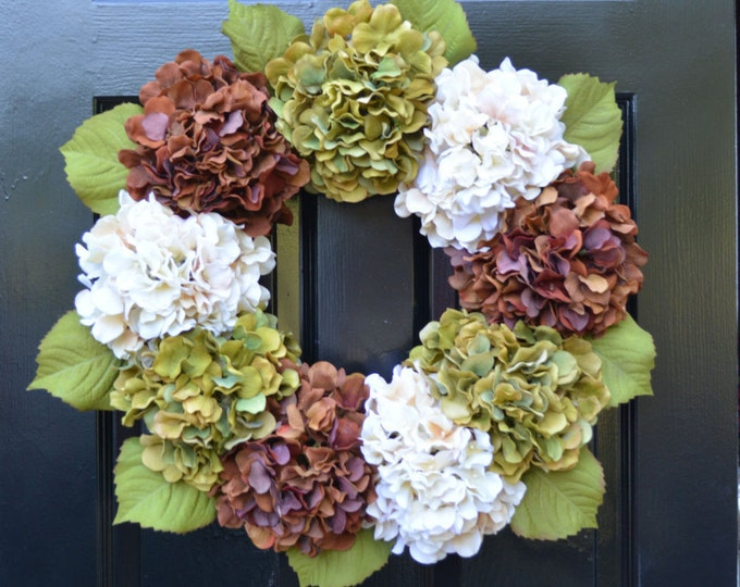 Fall Hydrangea Wreath, Hydrangea Fall Wreath, Fall Decor, Fall Decoration, Fall Hydrangeas, Large Wreath, Outdoor Decor, Garden Decor