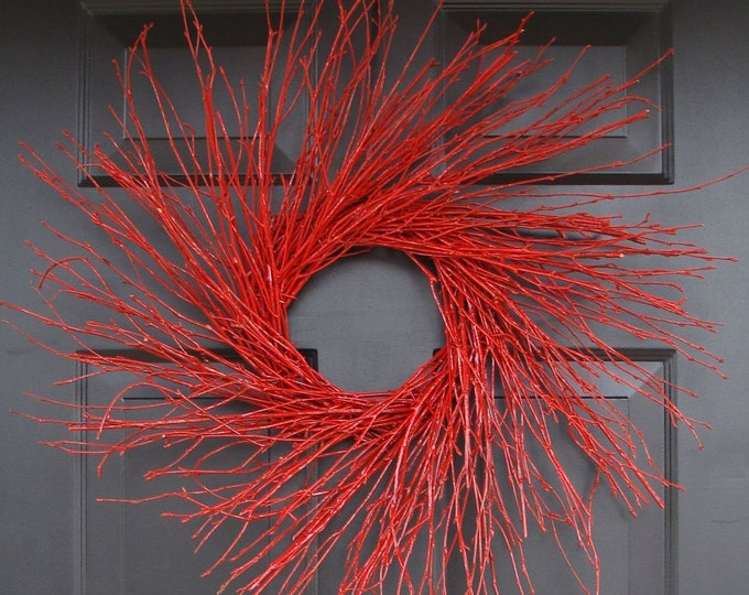 Red Winter Twig Wreath, Red Holiday Wreath, Birch Branch Winter Wreath, Birch Wreath, Red Wreath