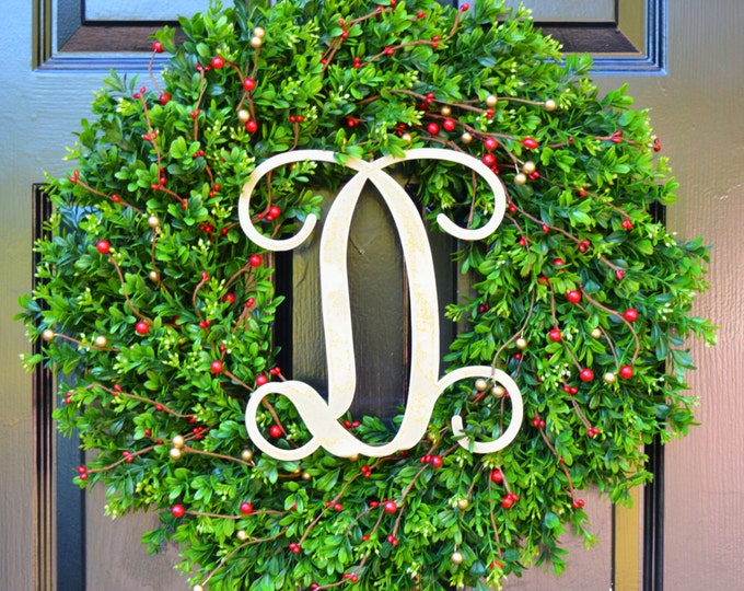 Christmas Wreath- Front Door Boxwood Wreaths Berry Christmas Decor- Personalized Monogram Winter Decoration- Holiday Wreath-Christmas gift