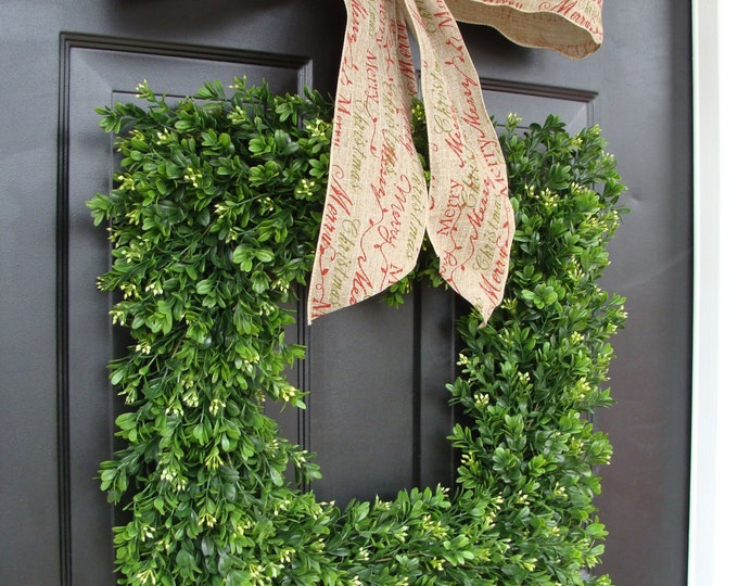 Merry Christmas Square Boxwood Holiday Christmas Wreath- Christmas Decor- Christmas Decoration- 4 inch Design Ribbon 18-24 inches available