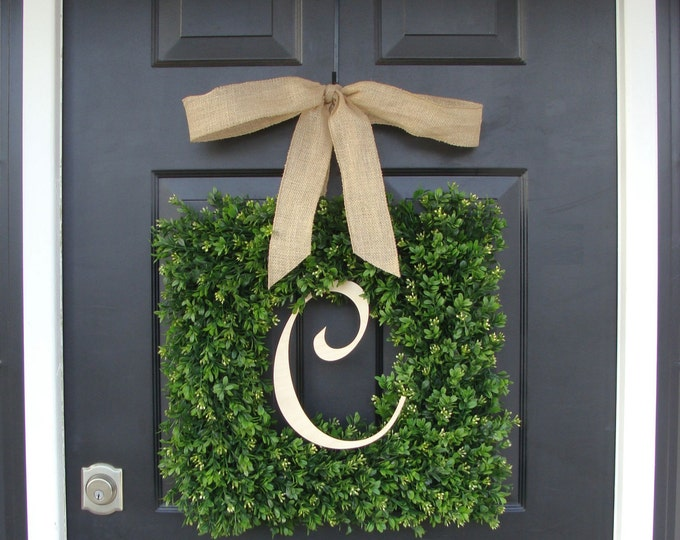 Monogram Square Boxwood Wreath, Boxwood Monogram Square Wreath with Bow, Housewarming Gift, Wedding Wreath 16-24 INCH Wreath available