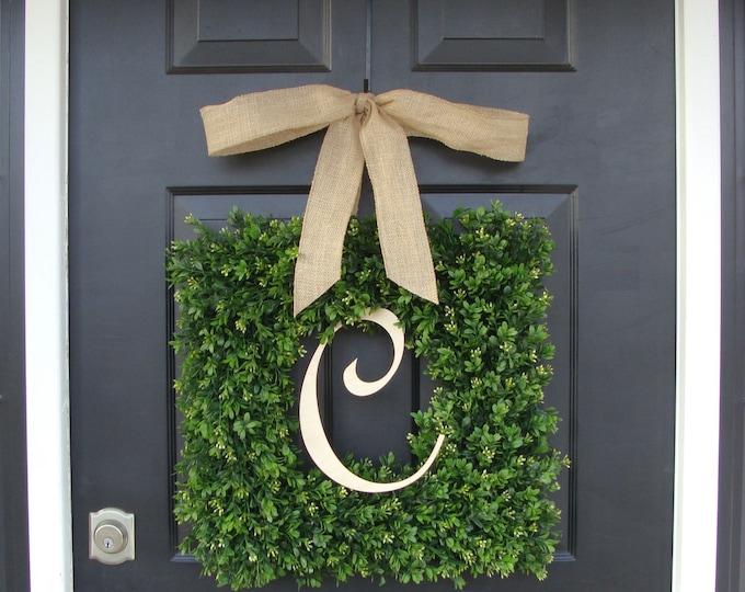 Monogram Boxwood Wreath, Boxwood Monogram Wreath with Burlap Bow, Housewarming Gift, Wedding Wreath 16-22 INCH Wreath available