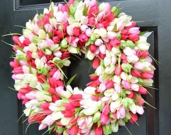 Wreaths Spring Sale Tulip Wreath Boxwood By Elegantwreath On Etsy