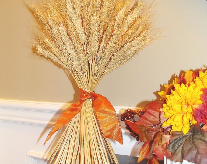 Fall Decor- Thanksgiving Decoration- Thanksgiving Centerpiece Wheat Sheaf With Ribbon- Mantle Decoration- Fall Decoration-SALE