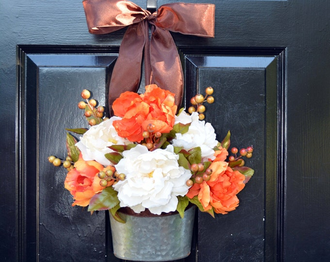 Fall Peony Wreath- Fall Peonies Wreath- Door Wreath Alternative- Outdoor Decor- Thanksgiving Wreath- Fall Decor- Year Round Decor