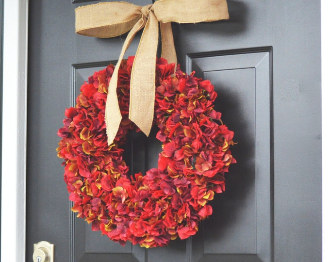 Red Apple Fall Hydrangea Wreath- Fall Wreath- Fall Decoration- Autumn Hydrangeas- Christmas Wreath- Thanksgiving Wreath- Door